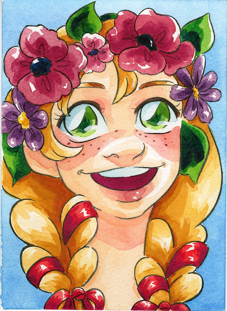 Holbein field test, Holbein watercolors, flowercrown, cute girl, watercolor