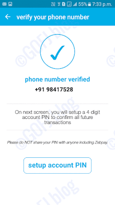 Zebpay mobile number verified