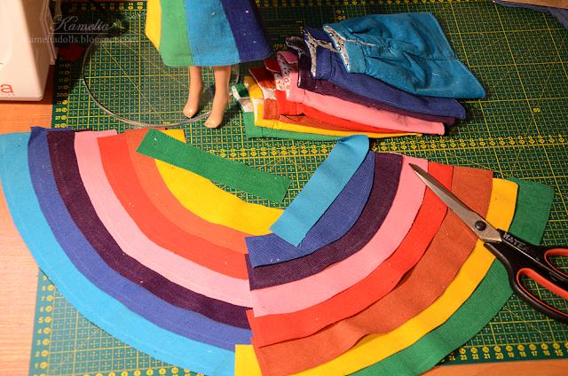 Rainbow skirts in progress