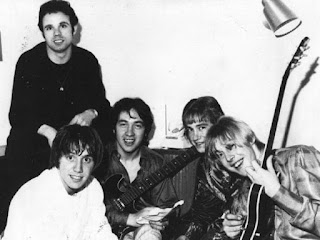 Easybeats band members Snowy Fleet (rear), (left to right) Stevie Wright, George Young, Harry Vanda, Snowy Fleet and Dick Diamonde.