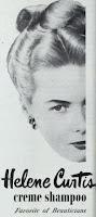 """Propaganda vinatege em preto e branco com os dizeres em inglês """"Helene Curtis, creme shampoo, favorito dos esteticistas"""""""