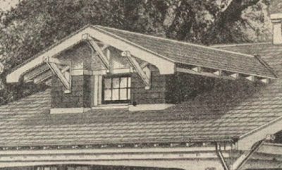 Sears Bandon catalog image of dormer with five-piece brackets and inset window