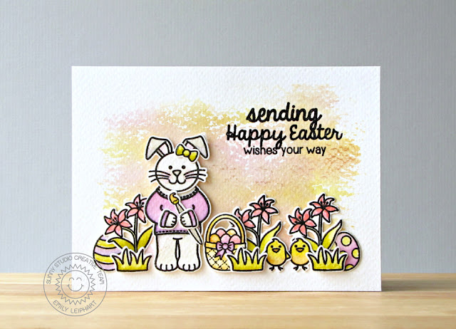 Sunny Studio Stamps: Easter Wishes and A Good Egg Happy Easter Watercolored Card by Emily Leiphart