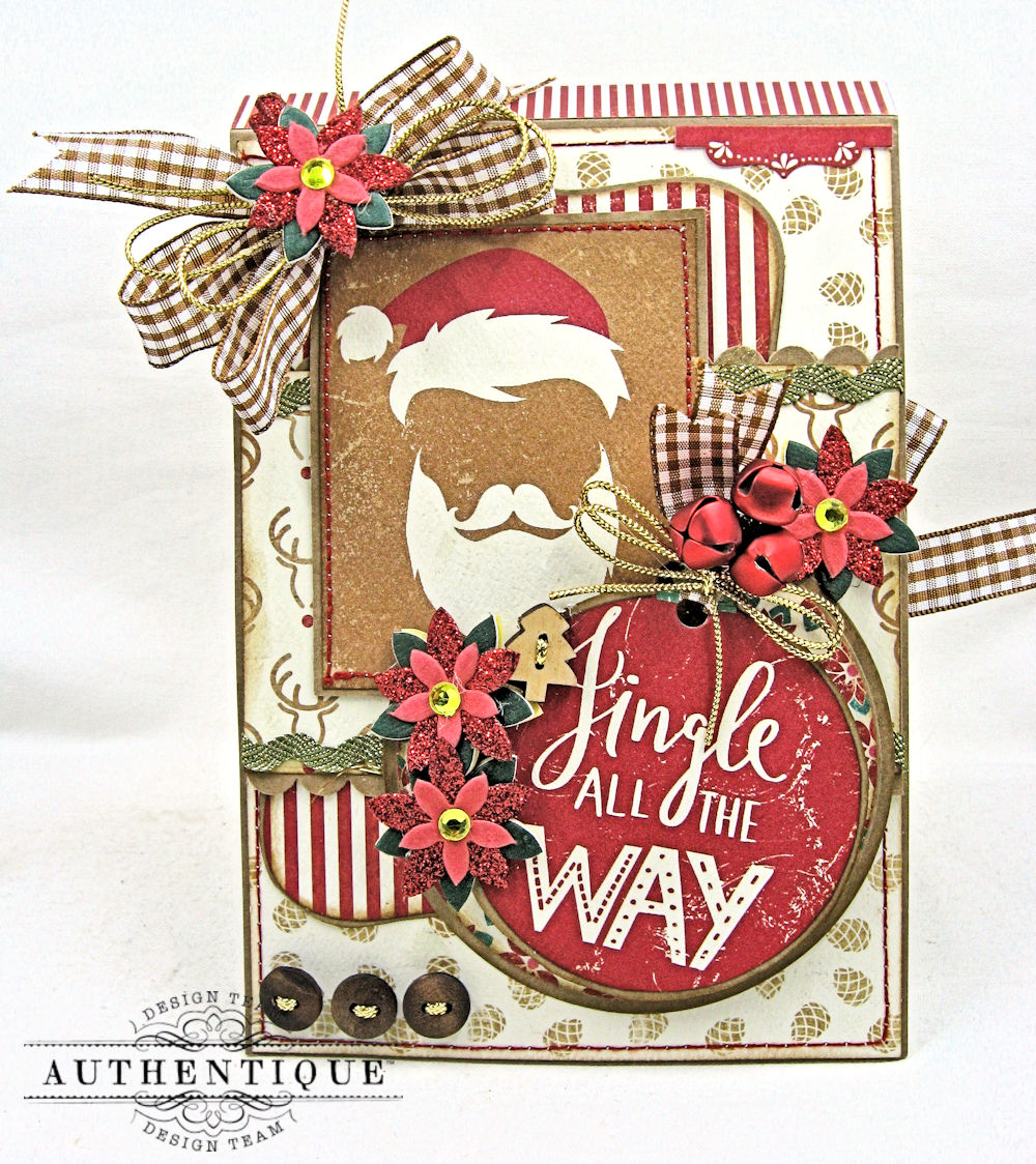 Authentique paper colorful christmas jingle all the way folio the festive colors in this collection remind me of a gingerbread house and dont you just love this dapper santa image baditri Image collections