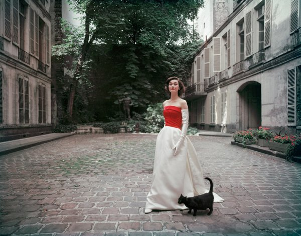 Balenciaga Faille and Satin Gown Photographed in Paris - Mark Shaw