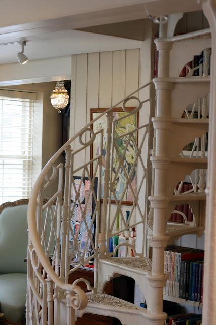 stunning white spiral staircase