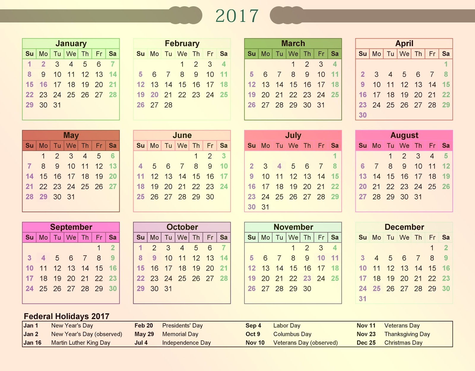 Calendar 2017 With Holidays : Calendar with bank holidays