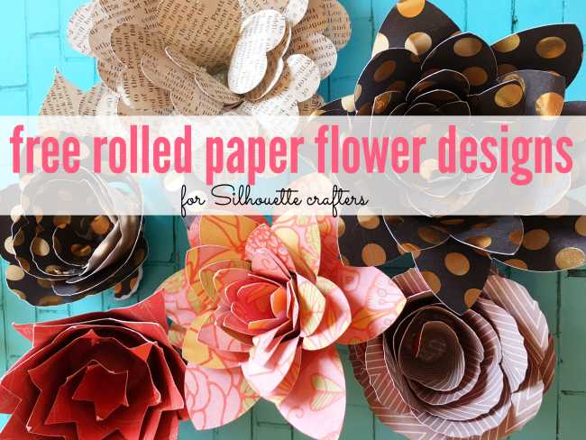 rolled paper flowers, svg flowers, rolled flowers, silhouette free designs