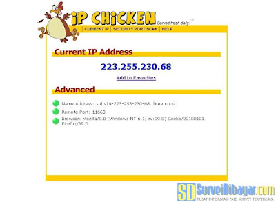 Cek IP Publik yang diberikan oleh Internet Provider menggunakan situs ipchicken.com | SurveiDibayar.com