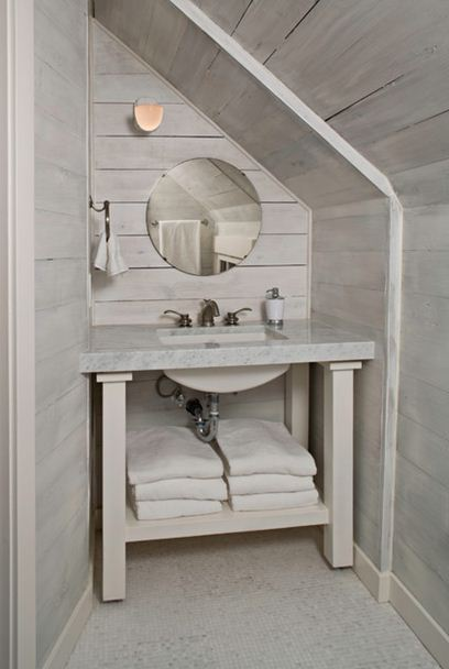 Jll design what to do with the powder room for Small bathroom with sloped ceiling