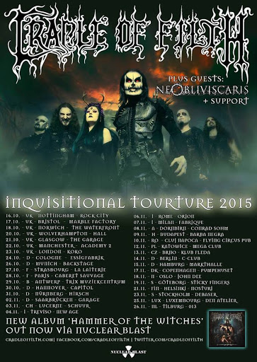 "Cradle of Filth @Inquisitional Tourture : ""Hammer of the Witches"" European tour 2015"