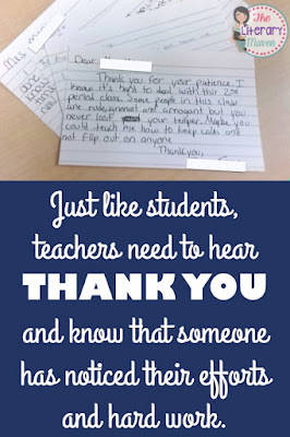 Even better than gifts for teachers during Teacher Appreciation Week is the simple recognition of their hard work and efforts. You can spread the love amongst your colleagues and school staff members by encouraging students to write thank you notes.