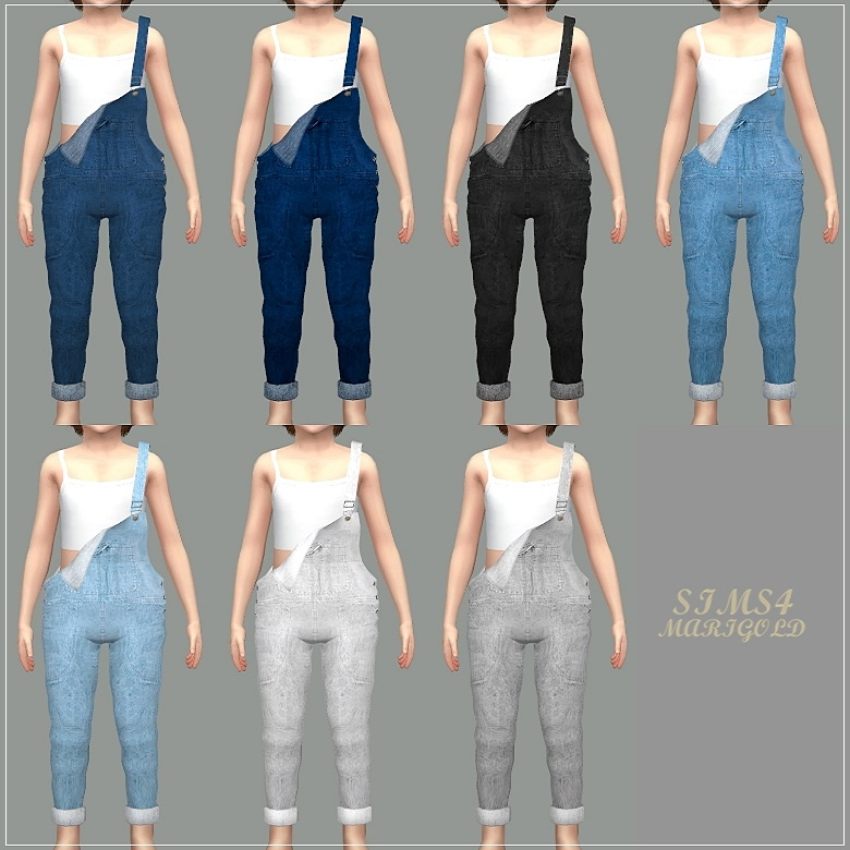 My Sims 4 Blog: Overalls for Kids by Marigold