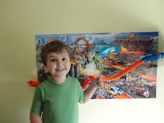 Big Boy next to the Hot Wheels Mid Air Madness Wall Track