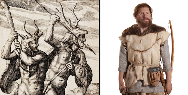 (Left) New stone-age men (Neolithic) have been depicted as crude barbarians (Right) However, they looked like this man on the right, whose clothes and outfit are based on historical findings.