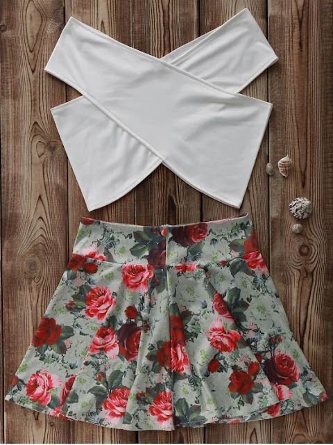 White Cross Crop Top And Floral A Line Skirt Suit