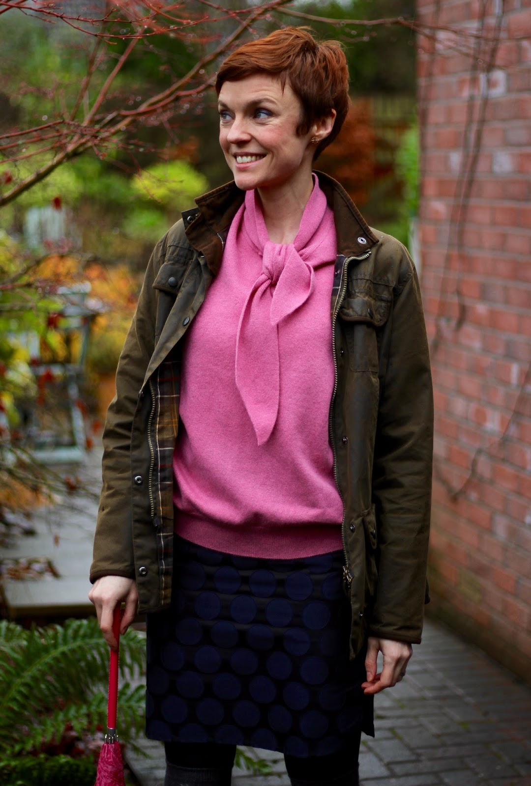 Vintage knit and a barbour jacket | Fake Fabulous