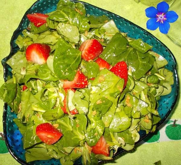 Salada de espinafre com cânones e morangos