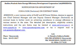APSEEDCO Recruitment Notification 2018 Apply Now
