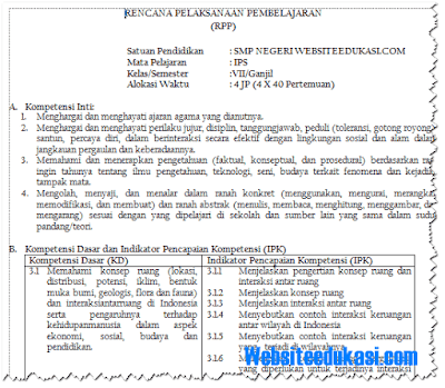 RPP IPS Kelas 7 SMP/MTs Kurikulum 2013 Revisi 2018