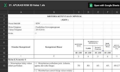 Download Aplikasi KKM SD kelas 1-6  Terbaru