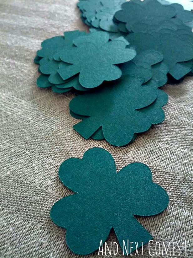 Cardstock shamrocks for St. Patrick's Day from And Next Comes L