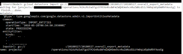 Run Gcloud import command