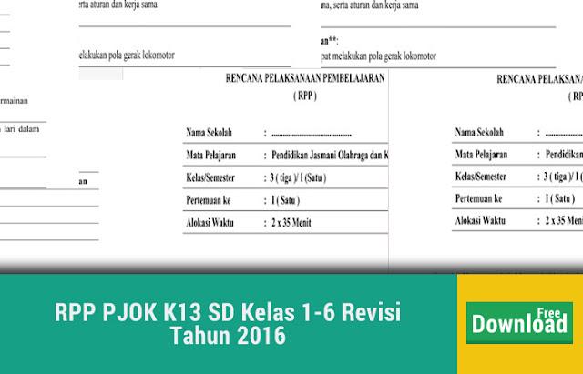 RPP PJOK K13 SD Kelas 1-6