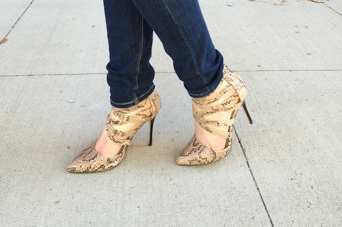 Snake skin heels for a chic going out look