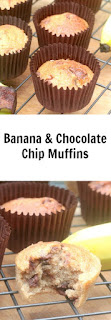 easy to make banana and chocolate chip muffins using self raising flour