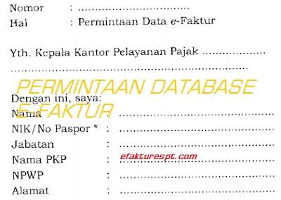 surat permintaan database efaktur