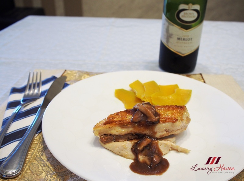 foie gras stuffed chicken merlot red wine sauce