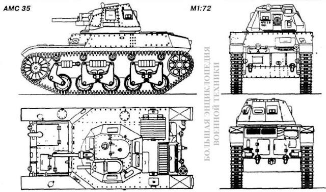 Общий вид легкого танка Auto-mitrailleuse de combat AMC 35