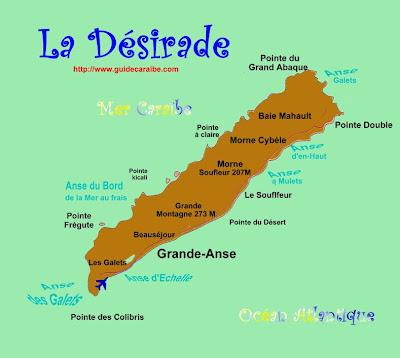 Carte de Désirade , + indication des communes et point culminant : Grande Montagne 273 mètres d'altitude.