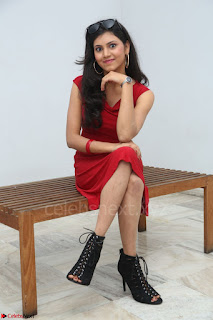 Mounika Telugu Actress in Red Sleeveless Dress Black Boots Spicy Pics 050.JPG