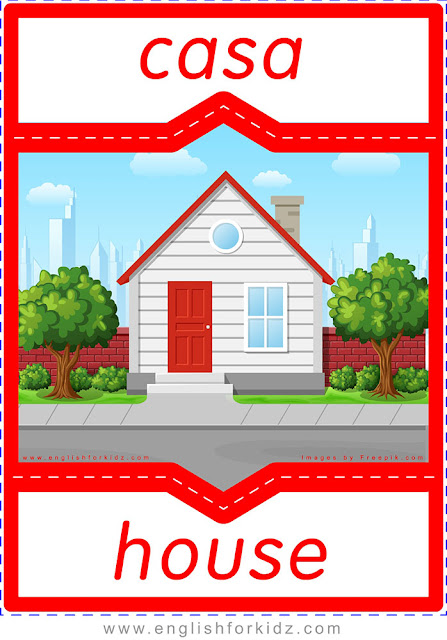 House in Spanish, English Spanish flashcard