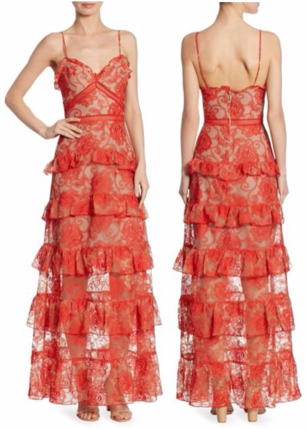 Rosie Tiered Embroidered Lace Gown