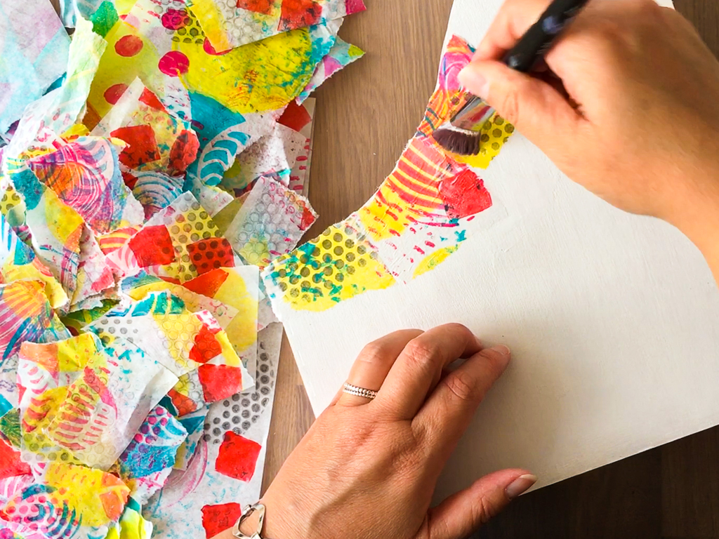 Tear fall colored construction paper into small pieces and glue -  Paper Into Smaller Pieces Brush Enough Decoupage Glue Such As Mod Podge Onto The Magazine File For One Or Two Pieces Of Parchment Paper At A Time