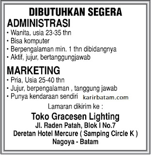 Lowongan Kerja Toko Gracesen Lighting
