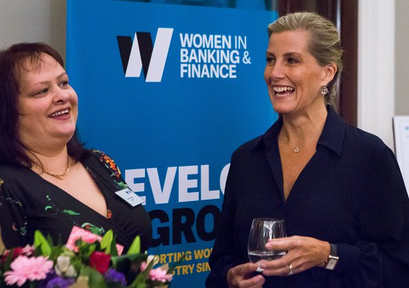 Countes Sophie of Wessex wore Emilia Wickstead Monica crepe shirt at Women in Banking and Finance Awards