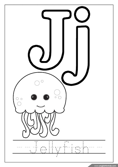 Alphabet coloring page, letter j coloring, j is for jellyfish