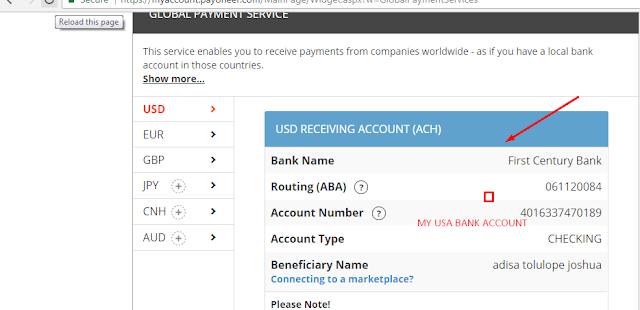 my payoneer usa bank account