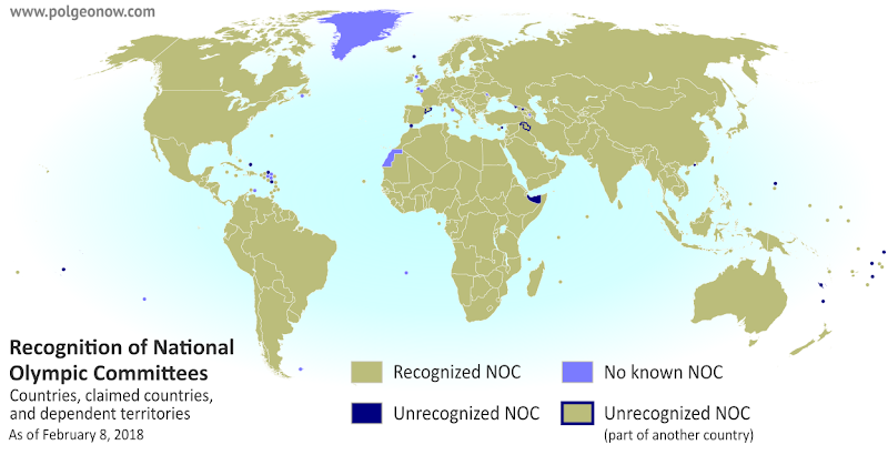 Countries not in the Olympics: World map marking independent countries (de facto sovereign states) and dependent territories that don't have IOC-recognized National Olympic Committees, and are thus not allowed to send their own teams to the Olympic Games