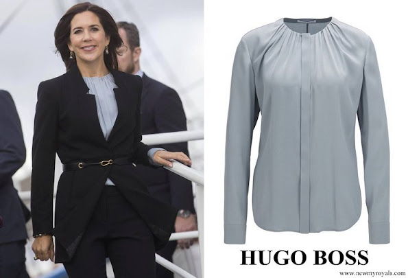 Crown Princess Mary wore Hugo Boss Banora8 Silk Blend Blouse