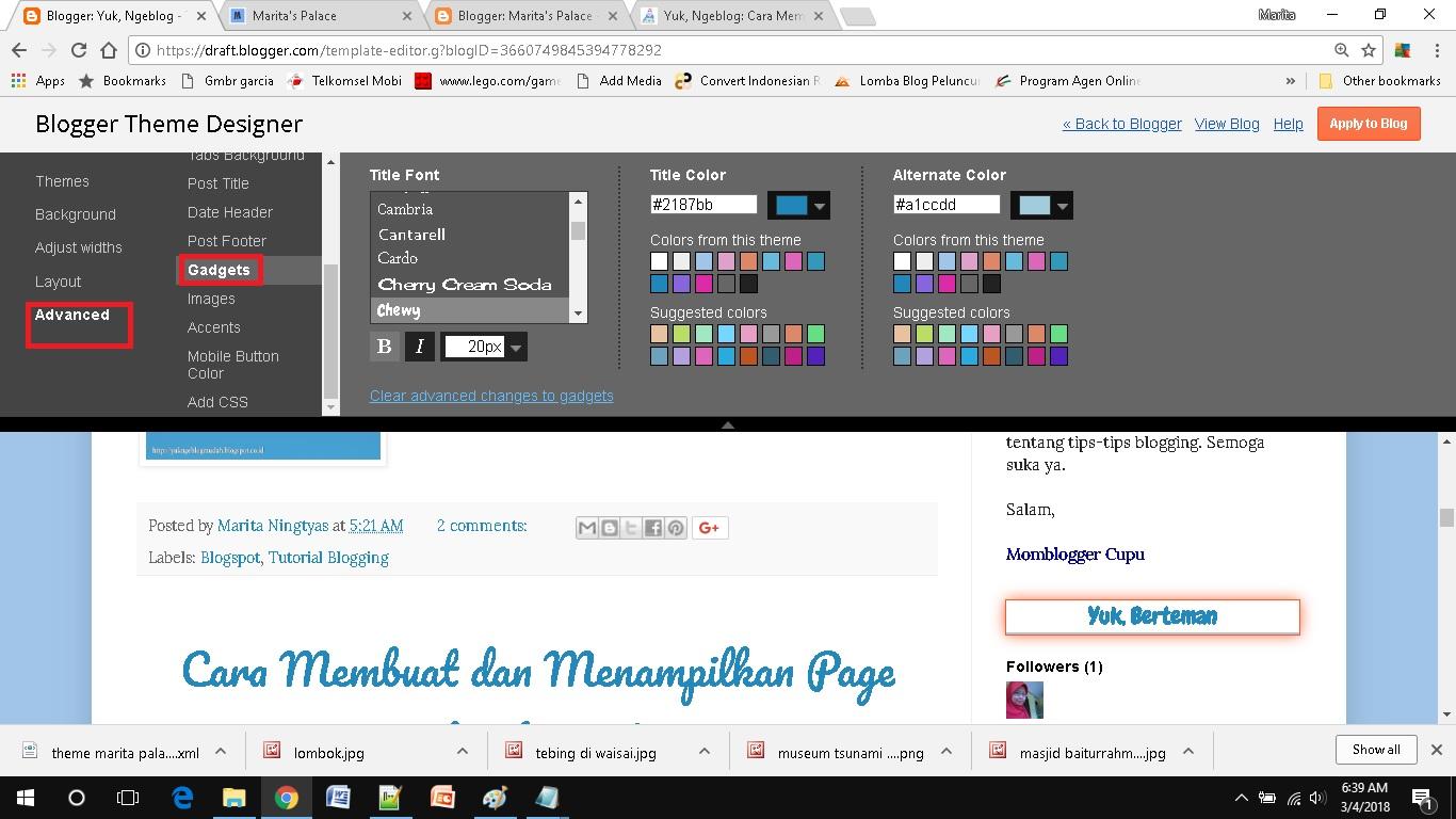 mendesain template blog sederhana pilih gadgets