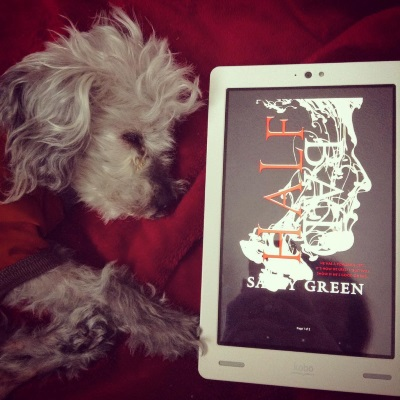 Murchie sprawls on a red blanket, his eyes barely open. He wears an orange t-shirt with brown trim, and has all his paws bunched together and pointed towards a white Kobo with Half Bad's cover on its screen. The cover depicts a male face silhouetted in swirls of white smoke against a black background.