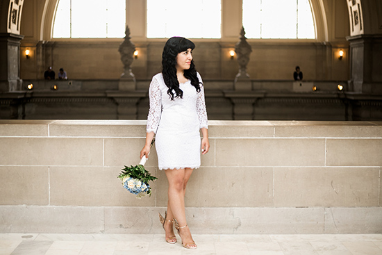Brandy and Armando SF City Hall Wedding | DVF Zarita Lace Dress