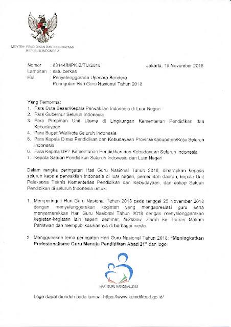 Download Surat Edaran Mendikbud Tentang Upacara Bendera Hari Guru Nasional 2018; tomatalikuang.com