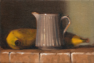 Oil painting of a fluted porcelain jug beside a banana.