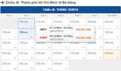Giá vé máy bay HCM đi Đà Nẵng tháng 12